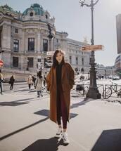 coat,brown coat,skinny pants,checkered pants,jumper,sneakers,platform sneakers
