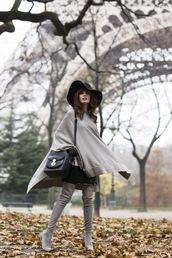 miss pandora,blogger,cape,thigh high boots,felt hat,grey,leather bag,shoes,bag