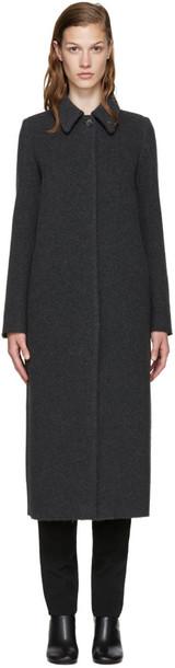 coat long coat long wool grey