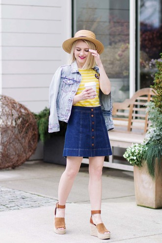 poor little it girl blogger top dress wedge sandals denim jacket yellow top denim skirt button up skirt spring outfits