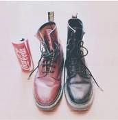 shoes,boots,red shoes,red boots,punk,punk shoes,punk boots,black shoes,black boots,dc martens