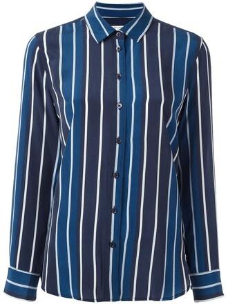 shirt striped shirt women blue silk top