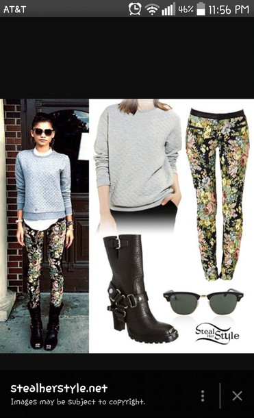 leggings celebrity zendaya cute dress and boots shoes