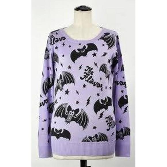 sweater clothes purple pastel pastel goth pastel bats