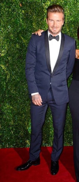 david beckham navy mens suit