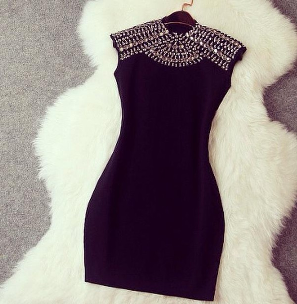 dress black rhinestones sleeveless sleeveless dress