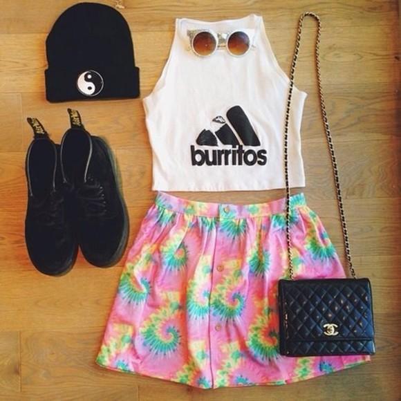 burritos DrMartens skirt adidas chanel purse yin yang beanie tie dye tank top