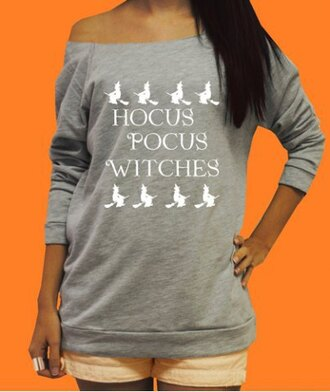 sweater cool grey fashion style fall outfits trendy winter outfits quote on it hocus pocus off the shoulder pullover long sleeves stylish clothes