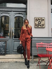 fashion agony,blogger,pants,jacket,shoes,bag,sunglasses,handbag,ankle boots,red jacket,red pants,tumblr,rust,boots,black boots,black bag