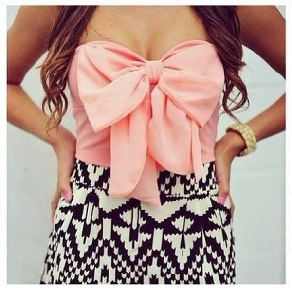 dress lovely pink black and white bow blouse bow crop top