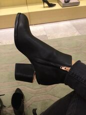 shoes,boots,rose gold,black,alexander wang,black booties