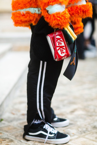 bag purse fashion week 2017 streetstyle fashion week red bag fur vans