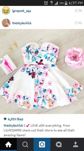 dress white purple print spring