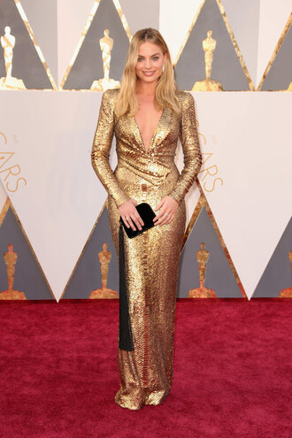 dress gold dress gold oscars 2016 margot robbie red carpet dress plunge dress clutch long prom dress gown prom dress metallic bag