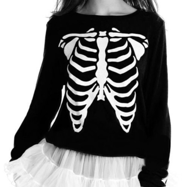 cardigan goth black jumper skeleton rib cage