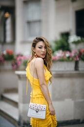 not jess fashion,blogger,dress,bag,jewels,yellow dress
