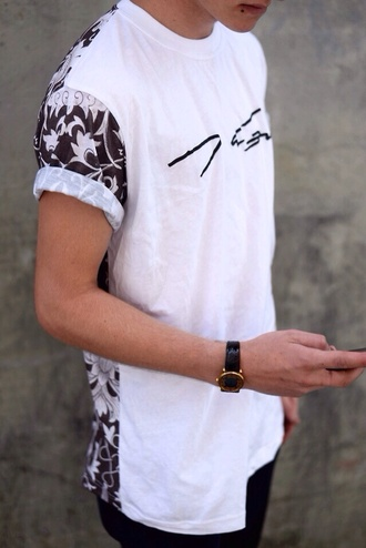 t-shirt shirt white black and white flowers mens t-shirt urban urban menswear