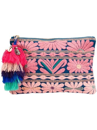 women clutch pouch floral purple pink bag