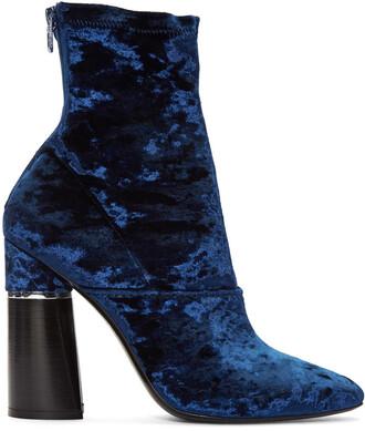 boots blue velvet shoes