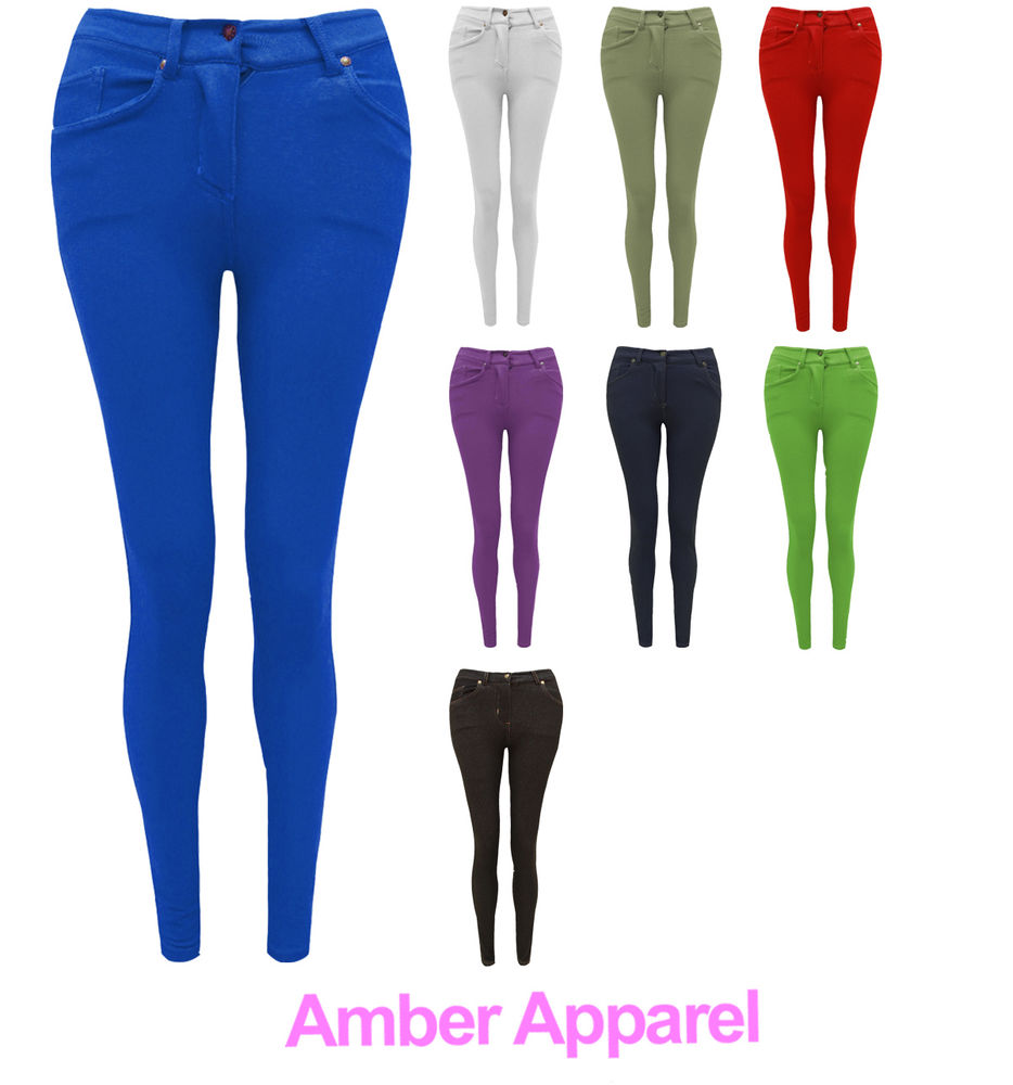 WOMENS LADIES SKINNY FIT COLOURED STRETCH JEANS JEGGINGS SIZE 8-20 ...