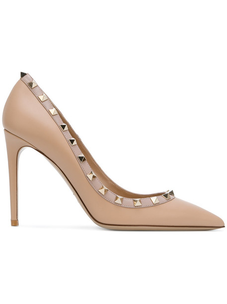 Valentino metal women pumps leather nude shoes