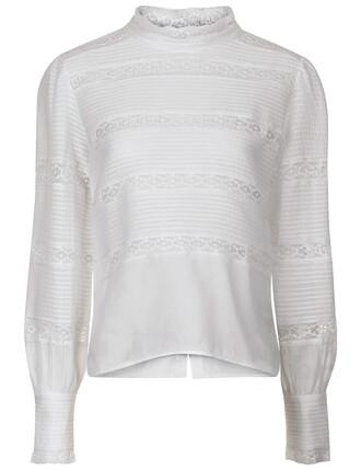 blouse lace white cotton top