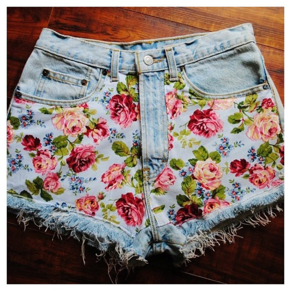 Floral Print Jean Shorts  by SheaBoutique on Etsy on Wanelo