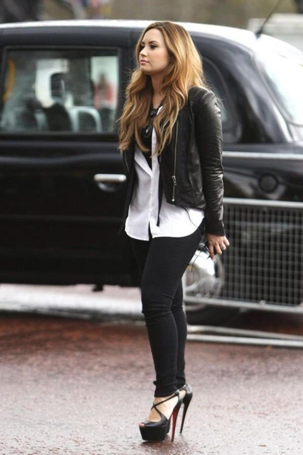 coat demi lovato leather jacket black belt blouse pants shorts shoes