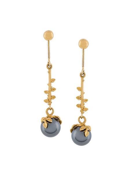 women pearl earrings gold silver grey metallic jewels