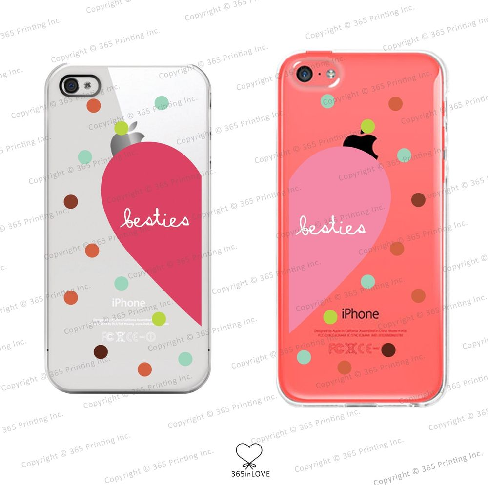 Besties Matching Clear Phone Case Set for BFF iPhone 4 4S 5 5c Galaxy S3 S4 S5 | eBay