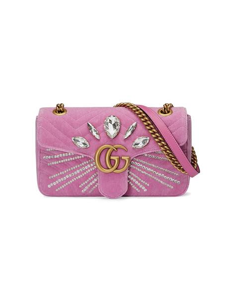 gucci women bag shoulder bag silk velvet purple pink