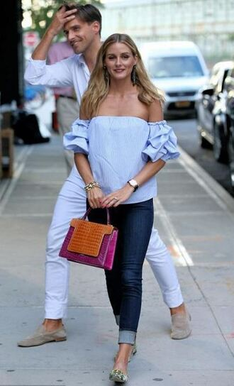 jeans blouse off the shoulder olivia palermo purse top shirt cold shoulder navy blue jeans urban streetstyle