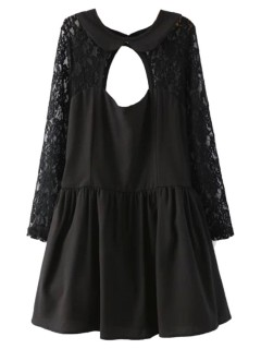 Black Backless Sheer Lace Top Long Sleeve Skater Dress - Choies.com