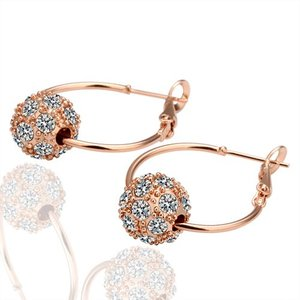 18K Gold Plated Hoops with Crystal Ball Hoop Earrings New Collection FE6 | Amazing Shoes UK