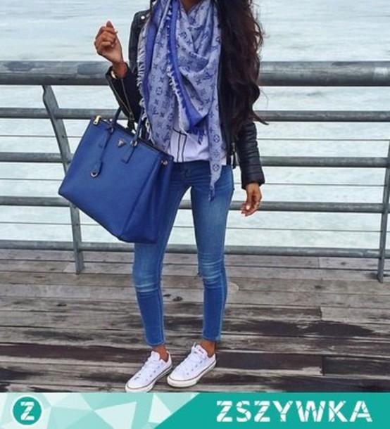 fecfb3cac973 bag girl fashion style jeans shoes white black jacket clothes accessories  black bag big bag bags