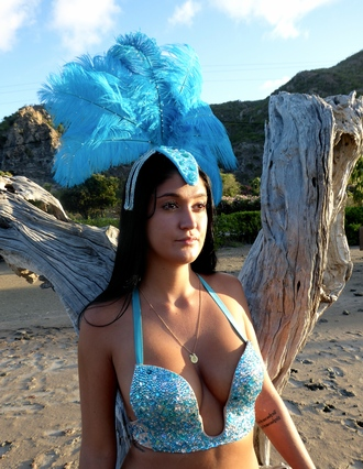 underwear strass rhinestones carnival costume sexy halloween costume sexy halloween costume swimming costume blue bra lingerie feathers rave rave bra fashion bling outfit party