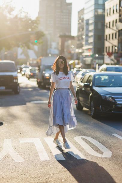 skirt midi skirt ruffle skirt striped skirt t-shirt white sneakers blogger blogger style slogan t-shirts