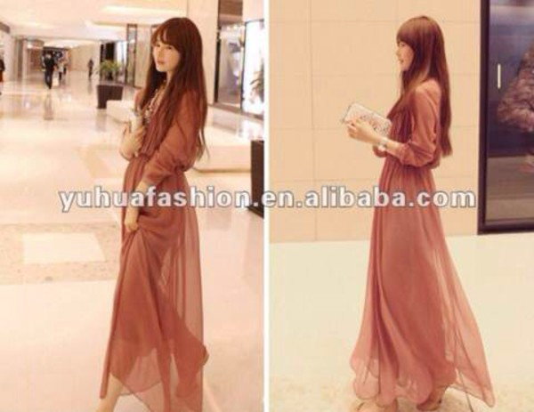 dress boho chiffon dress long sleeve