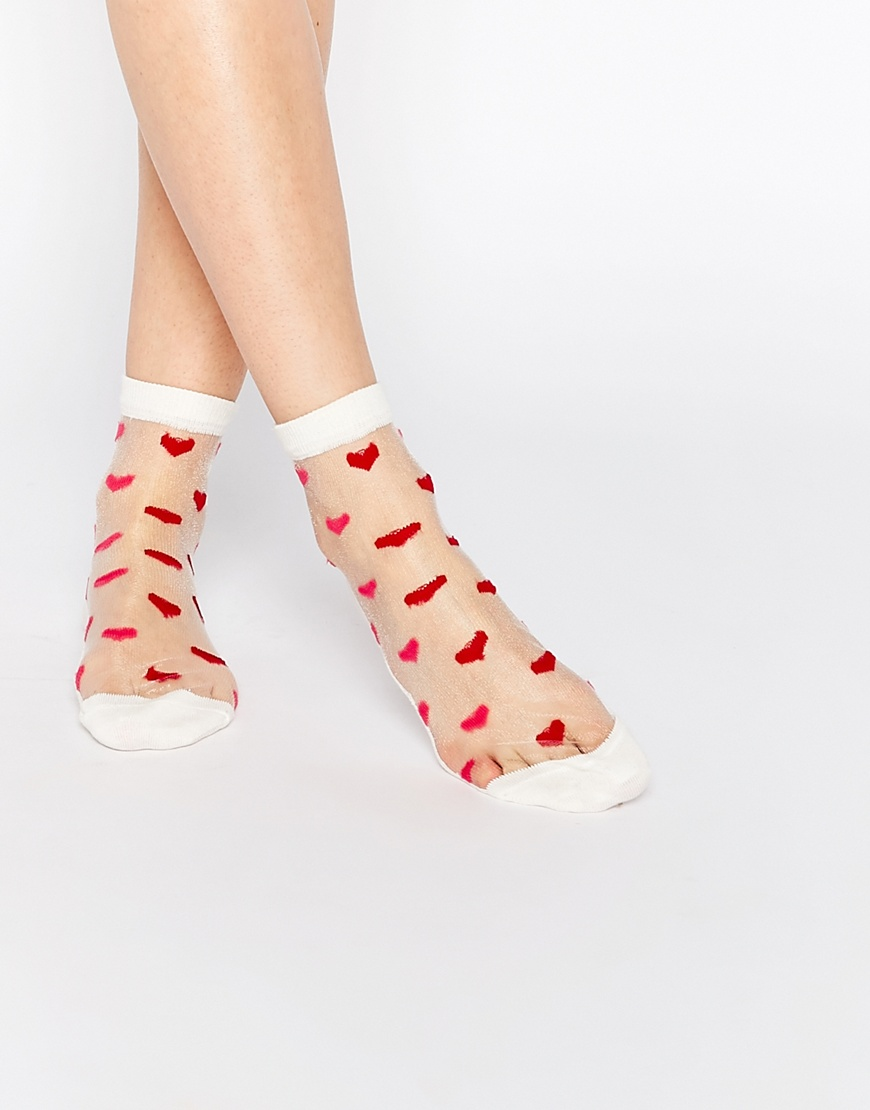 asos valentines sheer heart ankle socks at asoscom - Valentines Socks