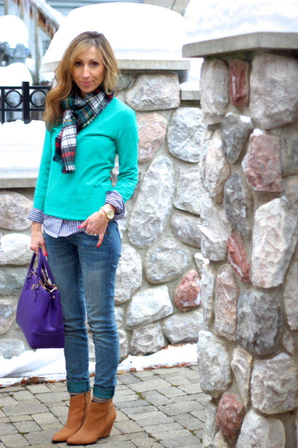 lilly's style coat shirt sweater jeans bag shoes jewels scarf