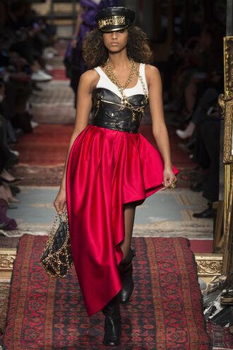skirt top dress moschino runway milan fashion week 2016 fashion week 2016 bustier dress bustier hat purse