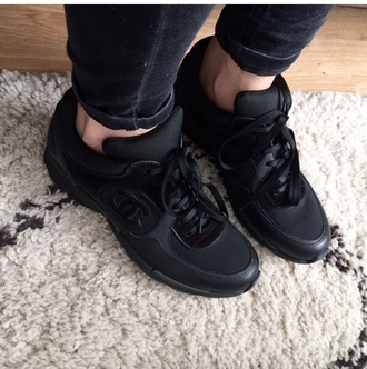 shoes channel shoes chanel inspired black sneakers