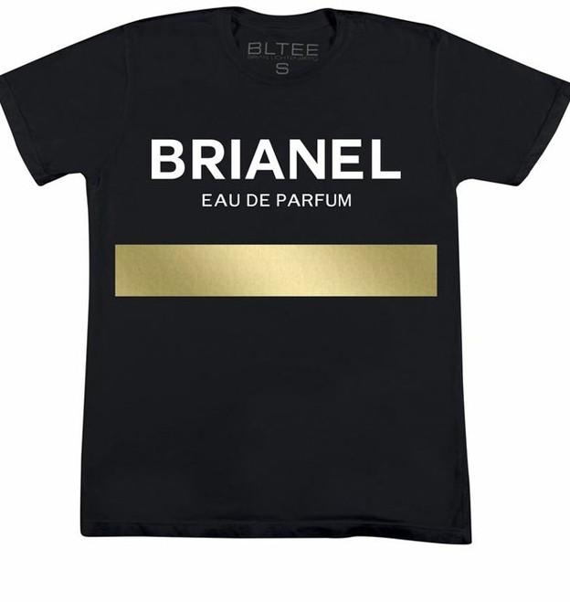 BRIAN LICHTENBERG BLACK BRIANEL EAU DE PARFUM TEE WITH WHITE INK