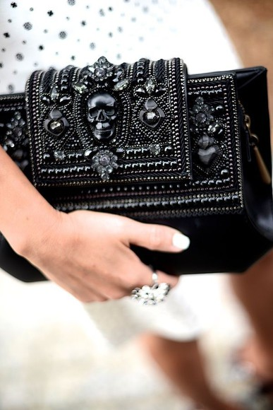 bag skull clutch embellished statement accessories