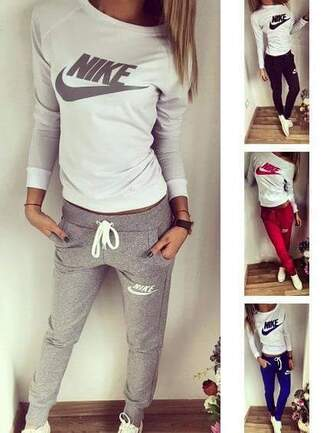 jumpsuit nike pants nike sweatshirt nike sweatpants tracksuit ladies top sexy casual wear sweater sportswear nike sportswear off the shoulder top grey