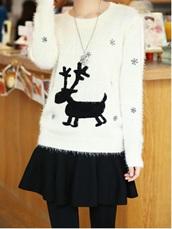 fluffy,deer,white,sweater