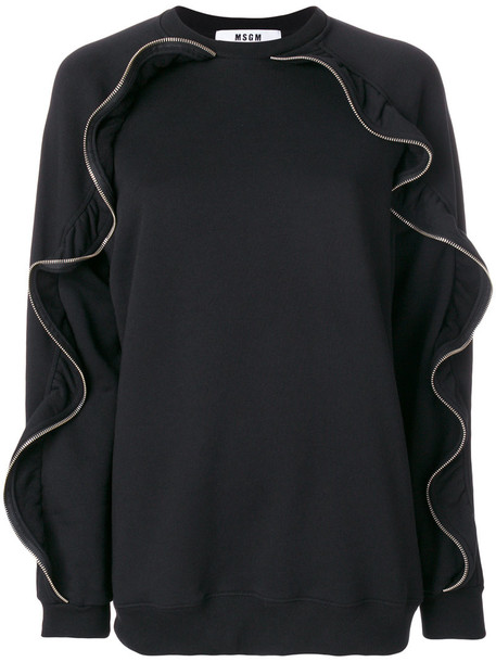 MSGM sweater zip women cotton black