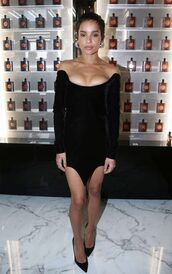 dress,black dress,mini dress,off the shoulder,off the shoulder dress,velvet,velvet dress,zoe kravitz,bustier dress