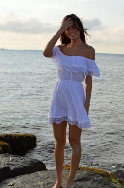 eeab00eba30d dress summer dress short dress white white dress beach clothes dress boho  sundress casual fitted waist
