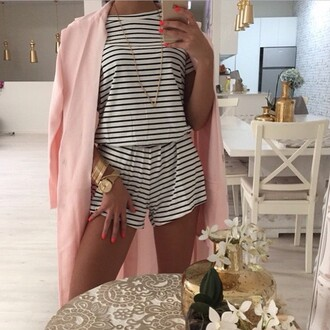 romper stripes cute black and white jumpsuit style striped dress striped skirt striped shirt black and white dress pink coat